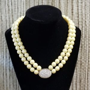 Jewelry - Double pearl strands with clear crystals